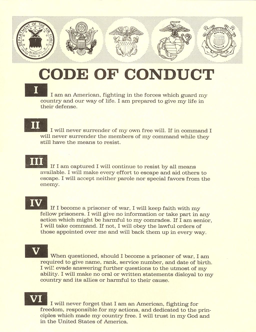 The United States Military Code Of Conduct
