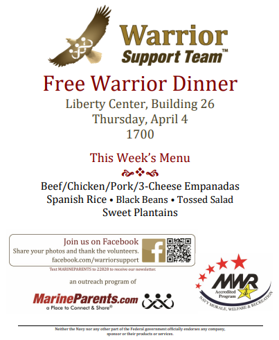 Warrior Support Team Dinner: April 4, 2019