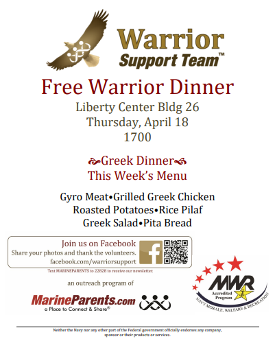 Warrior Support Team Dinner: April 18, 2019
