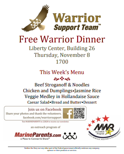 Warrior Support Team Dinner: November 8, 2018