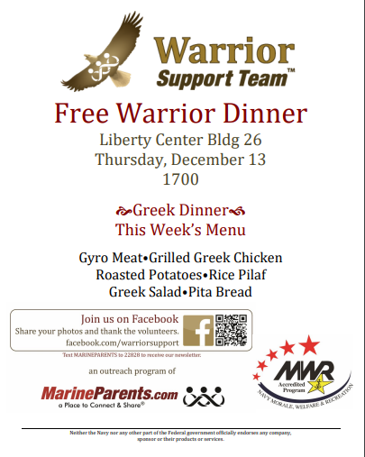 Warrior Support Team Dinner: December 13, 2018