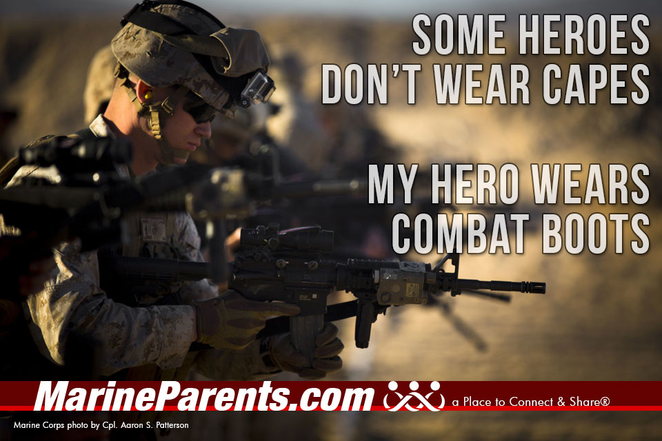 MarineParents.com USMC my hero wears combat boots