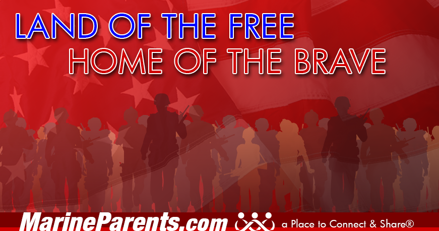 MarineParents.com patriotic land of free home of brave