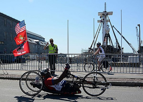 Double Amputee Marine Handcycles Across America