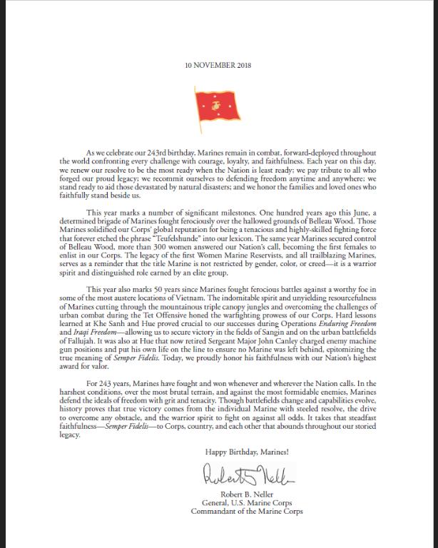 Marine Corps Birthday Message