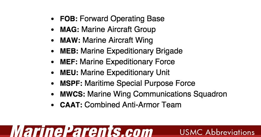 marine corps acronyms abbreviations